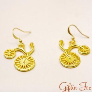 Handmade Jewelry - Bicycle Bike Earrings, Gold Plated, Handmade 🌸